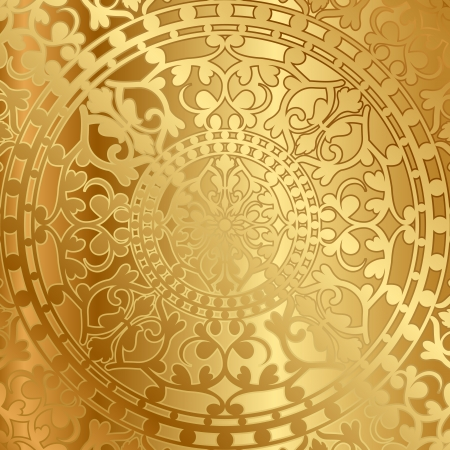 oriental vector: Vector gold background with oriental decoration Illustration