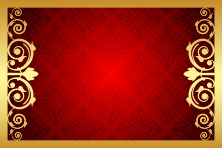 tapet: Vector gold and red royal frame