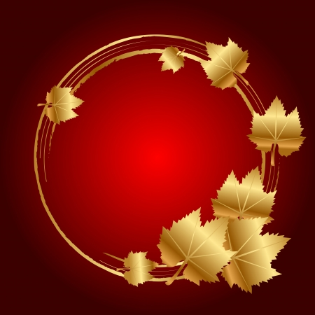 exfoliation: Vector red frame with gold leaves Illustration