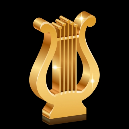 Vector illustration of gold shiny lyre Stock Vector - 21594340