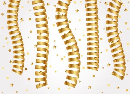 serpentine: Vector illustration of gold serpentine ribbons
