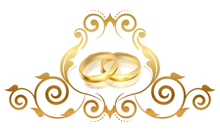 fiancee: Vector floral frame with gold rings