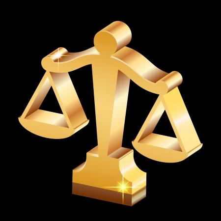 justice scales: Vector de oro brillante icono de la justicia escalas