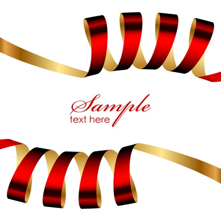 Vector red and gold ribbon frame Vector