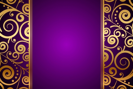 Vector gold ornament on purple background