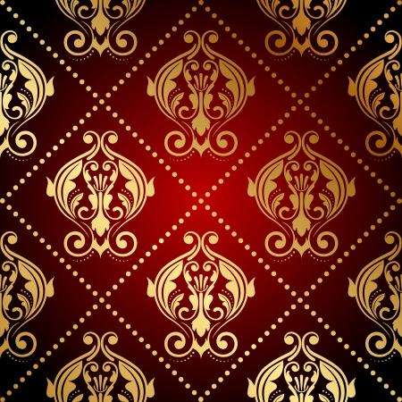 wrapping: Vector red and gold ornate wallpaper