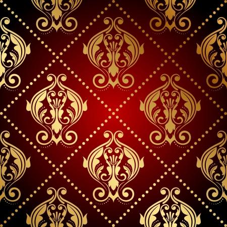 papel tapiz: Vector rojo y papel tapiz adornado de oro Vectores