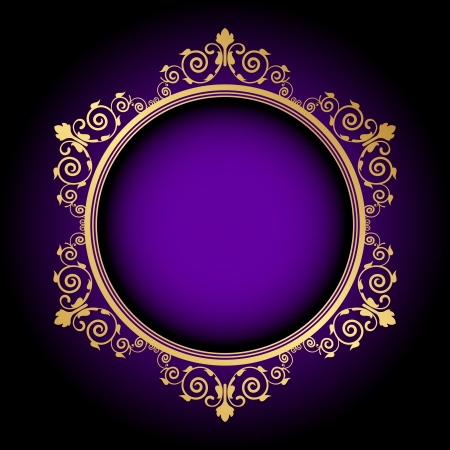 Vector gold floral frame on purple background Vector