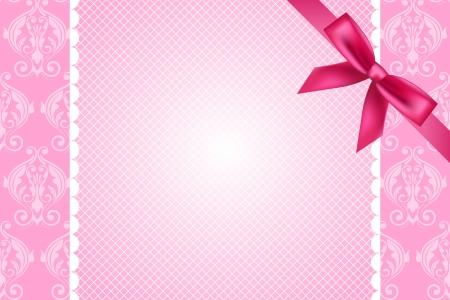 moño rosa: Vector adornado fondo de color rosa con el cordón y el arco