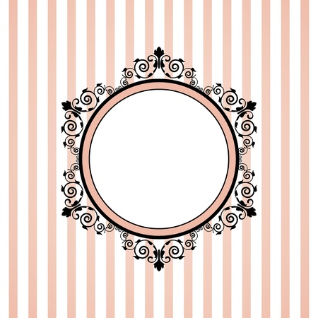 pink wall paper: Vector pink striped frame