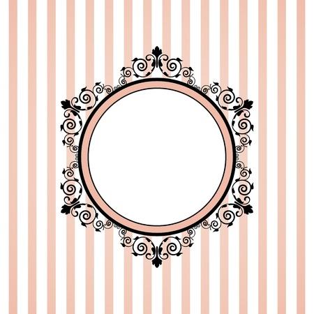 tapet: Vector pink striped frame