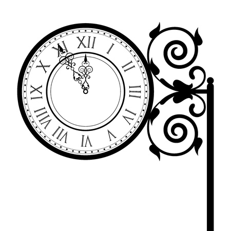 wall hanging: Vector illustration of vintage street clock