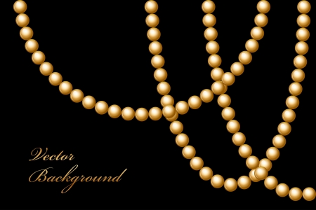 christmas beads: Vector illustration of gold beads