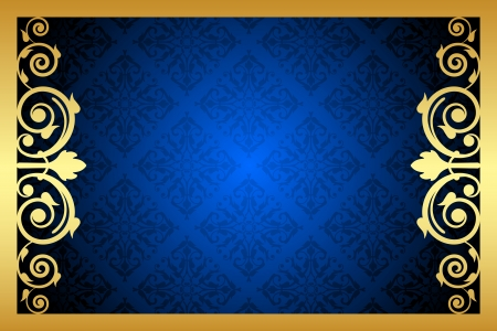 tapet: Vector gold and blue floral frame