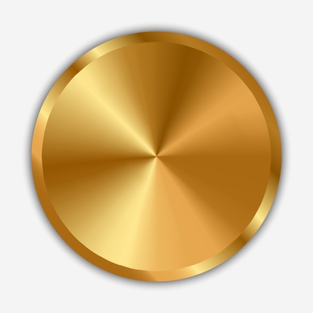 shiny button: Vector illustration of gold knob Illustration