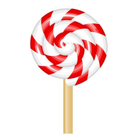 piruleta: Ilustración vectorial de rojo y blanco piruleta