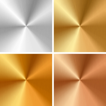 Vector metal textures - silver, gold, antique gold, bronze Vector