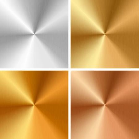 Vector metalen structuren - zilver, goud, antiek goud, brons