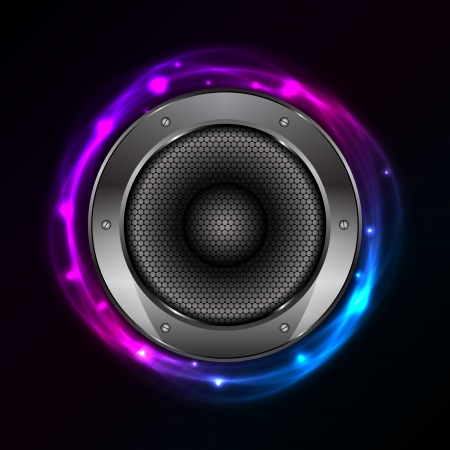 Vector glowing background with Sound Speaker
