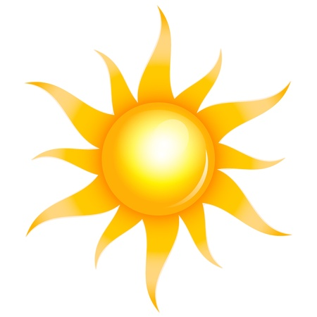 hot temperature: Vector illustration of shiny sun