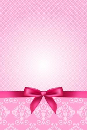 rosa: Vector rosa Tapete mit Schleife Illustration