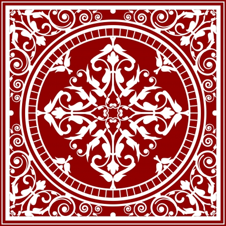 red rug: Vector red and white asian rug