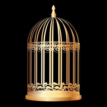 jail bird: Vector illustration of golden birdcage