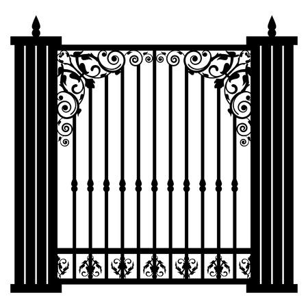 rejas de hierro: Ilustración vectorial de la puerta de la vendimia