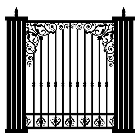 ancient blacksmith: Vector illustration of vintage gate