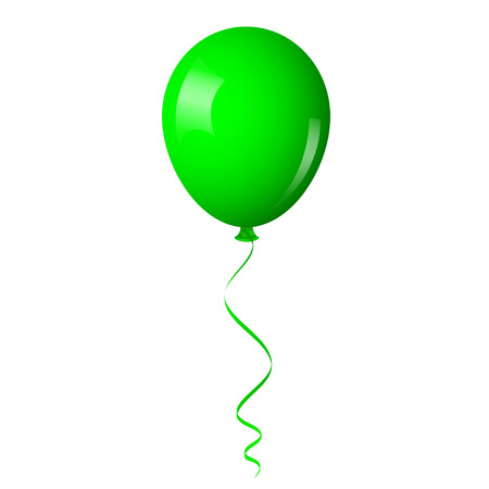 Vector illustration of green balloon with ribbon