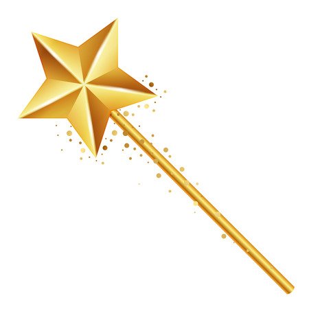 fairy wand: Vector illustration of golden magic wand