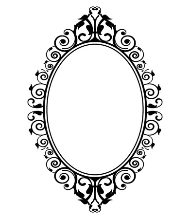 marcos decorados: Ilustración del vector del espejo de la vendimia