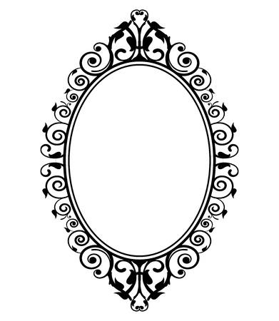 barok ornament: Vector illustratie van vintage spiegel