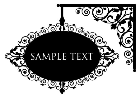 nameplate: Vector illustration of antique signboard