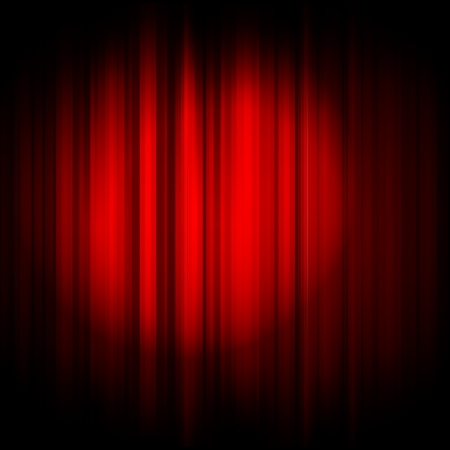 Vector red curtain with projector light Vector