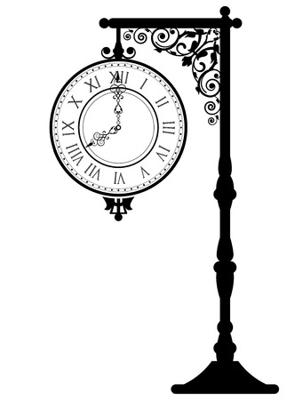 Vector illustration of vintage street clock