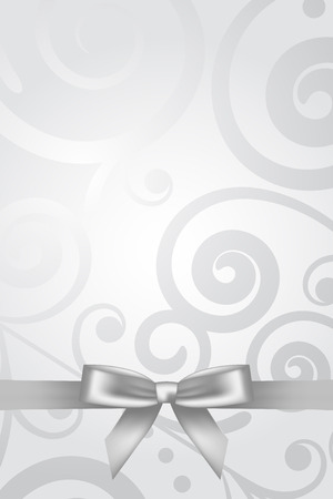 Vector silver background with bow Illustration
