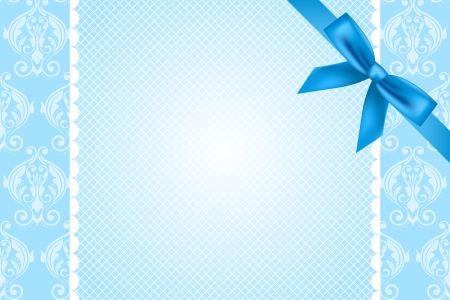 blue bow: Vector blue background with lace and bow Illustration