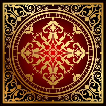 Vector illustration of oriental red   gold rug Ilustrace
