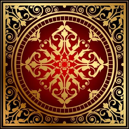 Vector illustration of oriental red   gold rug Illustration