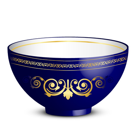 Vector illustration of bowl with ornament Vector