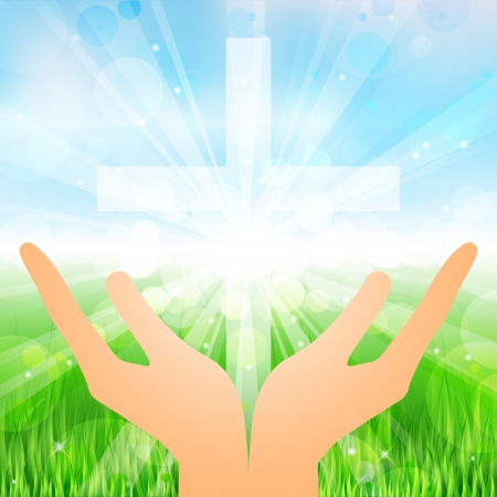 Vector illustration hands and cross Stock Vector - 23213329