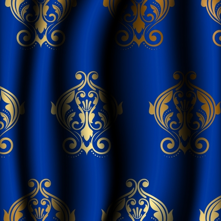Vector illustration of luxury blue material with gold pattern Vector