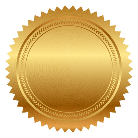 approve icon: Vector illustration of gold seal Illustration