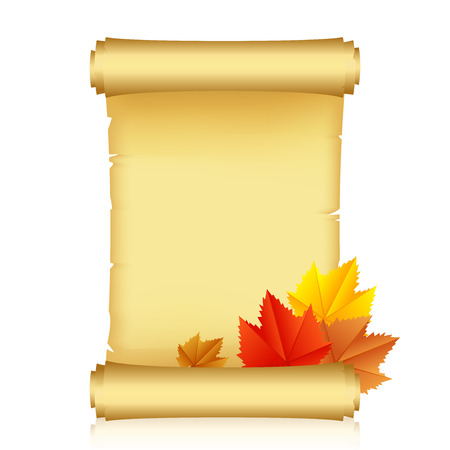 Vector illustration of scroll with autumn leaves Vector