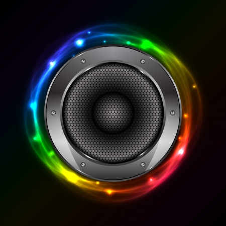 volume glow light: Vector colorful background with Sound Speaker