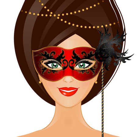purim carnival: Vector illustration of woman with mask