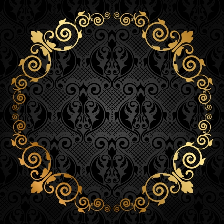 tapet: Vector black and gold luxury frame
