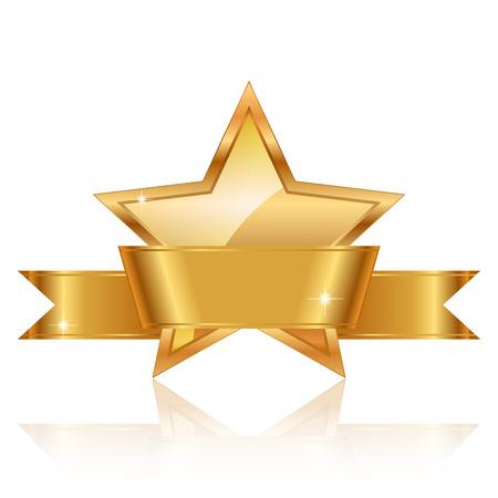 гребень: Векторная иллюстрация Золотая Звезда премии с блестящей лентой с пространством для вашего текста