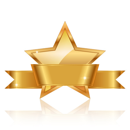 fame: Vector illustration of gold star award with shiny ribbon with space for your text